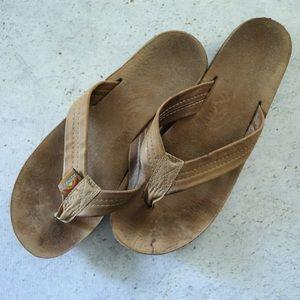 Rainbows Brown Leather Flip Flops, Size Medium
